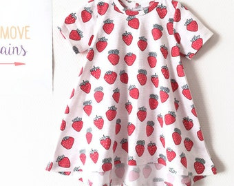 Organic cotton dress with strawberries.