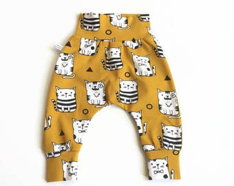 Yellow baby harem pants with cats