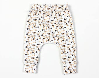 Baby infant harem pants with triangles. Comfy infant pants with cuffs. White cotton fabric. Peach, gold, grey.  French terry. Sweat pants