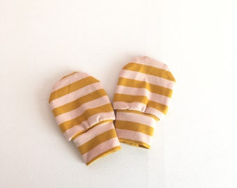 Baby mittens with pink and yellow stripes, baby scratch mitts. Jersey cotton knit. Baby Gift Girl Hand Covers