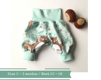 Green bubble pants with bears and foxes. Size 0 - 3 months