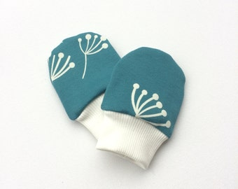 Petrol organic baby scratch mitts with dandelions