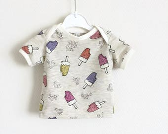 Baby lap neck shirt with sparkly ice creams
