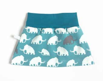 Teal baby or toddler skirt. Wide waist band. Teal skirt with white mammoths. Sizes 3 Months - 4T. Girl's skirt, small skirt.