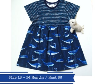 Blue girl's dress with whales. Size 18 - 24 months