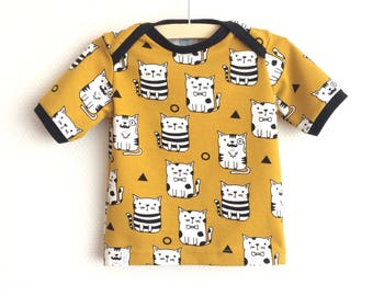 Yellow baby lap neck shirt with cats. Mustard yellow toddler t-shirt. Kid's top. Cotton knit fabric. Oeko-tex cotton. Kittens shirt