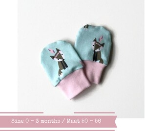 Mint baby mittens with foxes. 0 - 3 months