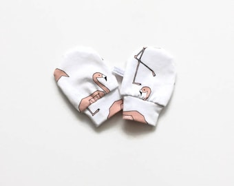 White organic baby mittens, baby scratch mitts. Jersey cotton knit with flamingos. Baby Gift Girl Hand Covers. Baby shower present