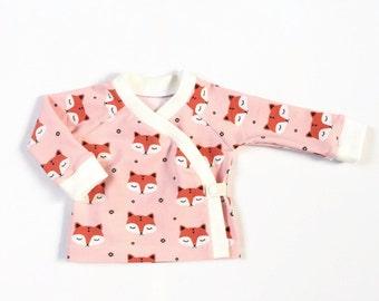 Baby kimono wrap shirt with sleepy foxes