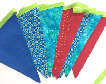 Fabric bunting with 8 fabric flags. Blue, green and red. Ready to ship
