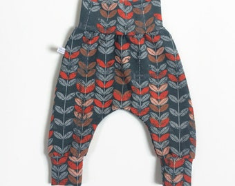 Baby harem pants with orange leaves