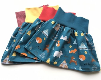Petrol baby or toddler skirt with forest animals