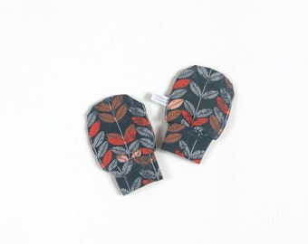 Grey baby mittens, baby scratch mitts. Jersey cotton knit with orange leaves. Baby Gift Girl Hand Covers. Organic cotton