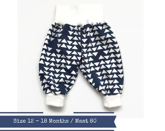 Last one: Blue harem pants with white triangles. Size 12 months. Slouchy infant pants. Fold over waistband and cuffs. Ready to ship
