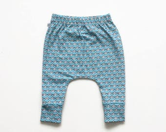 Light blue slim fit harem pants with small boats