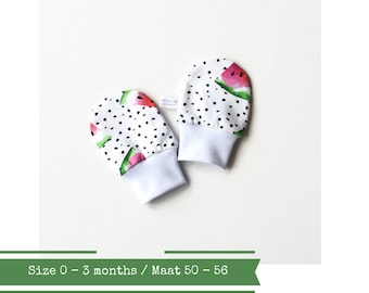 White no scratch mittens with black dots and watermelon. Size 0 - 3 months