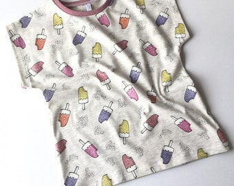 Baby or toddler shirt with glitter ice creams