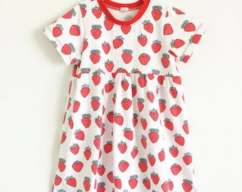 Girls summer dress with strawberries