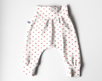 White baby harem pants with pink dots