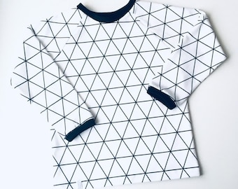 White shirt with geometric pattern