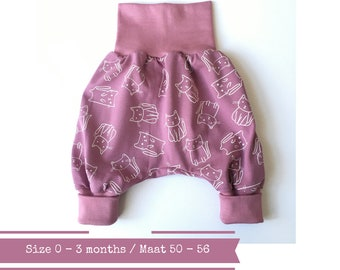 Pink bubble pants with cats. Size 0 - 3 months