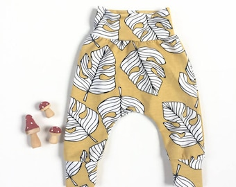 Yellow harem pants with monstera leaves