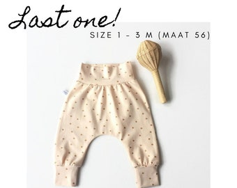Peach baby harem pants with gold dots. Size 1 - 3 M