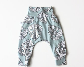 Mint green pants harem pants with monstera leaves