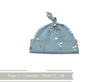 Light blue hat with mushrooms. 0 - 3 months