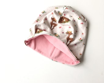 Beanie hat, slouchy hat with deer and bunnies. Size 42 - 46 cm. 6 - 9 months