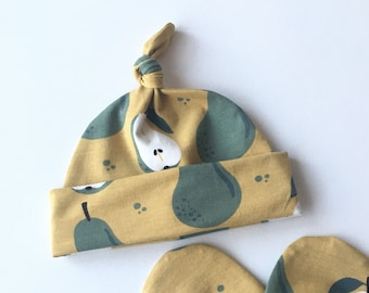 Yellow organic hat with pears, Organic baby hat