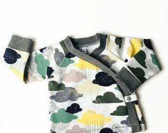 Baby kimono wrap shirt clouds in green and yellow