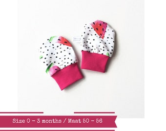 White baby mittens with black dots and watermelon. Size 0 - 3 months