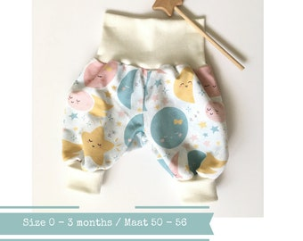 Roomy bubble pants with sun, moon, and stars. Size 0 - 3 months