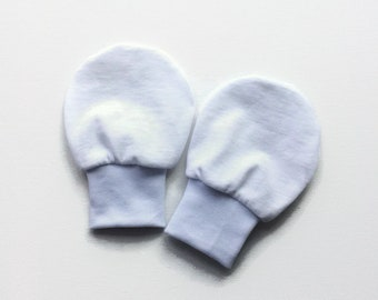 White jersey baby mittens, toddler scratch mitts. No scratch mittens, hand covers Baby Gift Boy or Girl eczema gloves