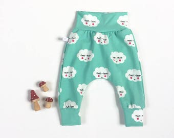 Mint green harem pants with sleepy clouds