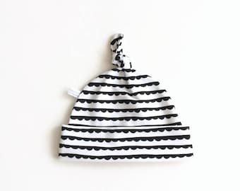 Black and white cotton baby hat