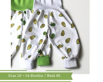 Last one: White bubble pants with avocados. Size 18 - 24 months