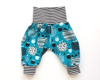 Petrol baby pants with retro apples