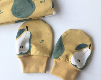Yellow organic no scratch mittens with pears. Organic cotton