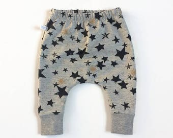 Grey baby infant harem pants with black and gold stars