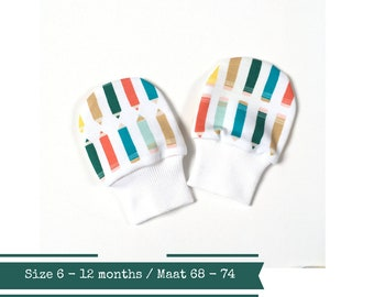 Organic baby mittens with pencils. Size 6 - 12 months