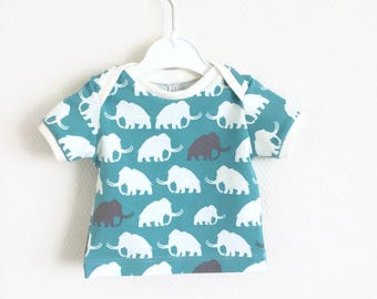 Organic lap neck shirt with mammoths. Baby or Toddler t-shirt. Kid's top. Boy or girl shirt with white and grey mammoths. Cotton knit fabric
