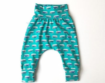 Green harem pants with retro buses