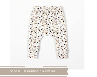Baby infant harem pants with triangles. Size 6 m.. Peach, gold, grey.