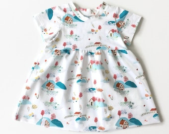Summer dress with farms and trees