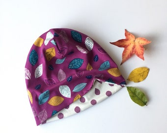 Beanie hat, slouchy hat. Kids to adult sizes. Purple with leaves.. Reversible beanie hat