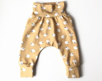 Yellow baby harem pants with sheep