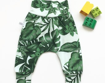 Baby harem pants with monstera leaves