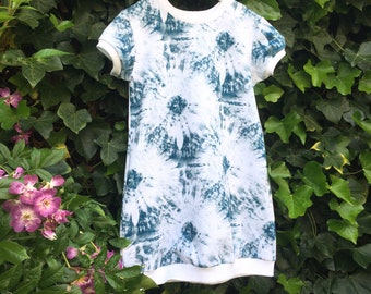 Girls a-line dress with short sleeves. Blue tie dye fabric